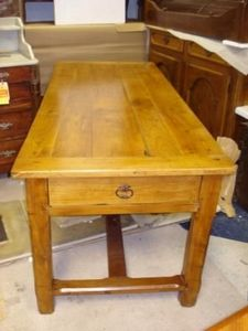 Jacque's Antiques - french farm table in cherry wood.  - Rectangular Dining Table