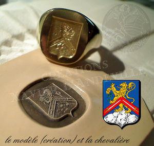 Xavier d'Andeville Héraldiste - tout or - Ring