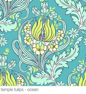AMY BUTLER - temple tulips ocean - Wallpaper