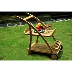 wood-en-stock - desserte en teck brut - plateau amovible - Garden Trolley