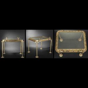 Expertissim - hublot de paquebot rectangulaire en laiton transfo - Side Table