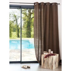 Maisons du monde - rideau lin lourd taupe - Eyelet Curtain