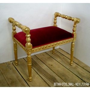 DECO PRIVE - banquette velours rouge et bois dore bettina petit - Bed Bench