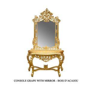 DECO PRIVE - console rococo sculptee en bois dore grappe - Themed Decoration