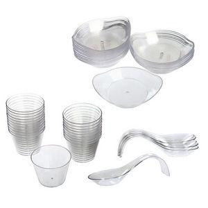 WHITE LABEL - 20 coupelles amuse-bouches rondes 20 ovales et 6 c - Disposable Dish