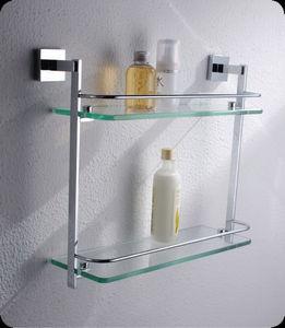 EASY SANITARY - wall mounted double glass shelf - Bathroom Shelf