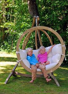 Amazonas - balancelle globo avec support et coussin ecru 127x - Swinging Chair