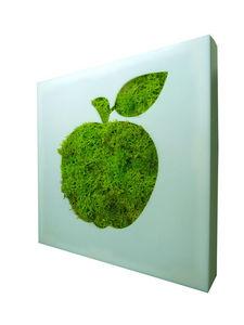 FLOWERBOX - tableau végétal picto pomme en lichen stabilisé 20 - Organic Artwork