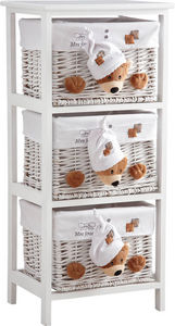 Aubry-Gaspard - commode 3 tiroirs en bois et osier mes jouets ours - Children's Drawer Chest