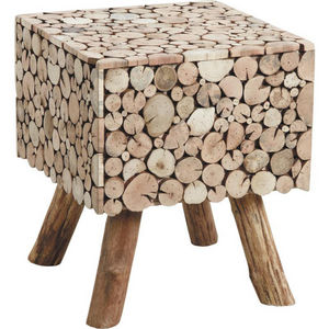 Aubry-Gaspard - table d'appoint carrée rondins en sapin - Rectangular Coffee Table