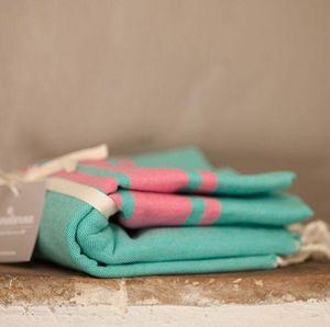Zandaraa - fouta plate lagon et rose - Fouta Hammam Towel