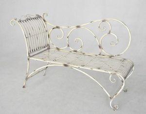 Demeure et Jardin - méridienne en fer forgé banc creme antique - Lounge Sofa
