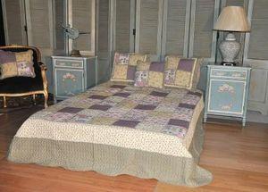 Demeure et Jardin - boutis double patchwork mauve - Matelasse Bedspread