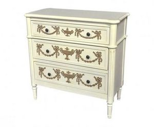 Demeure et Jardin - commode louis xvi blanche moulures chocolat - Chest Of Drawers
