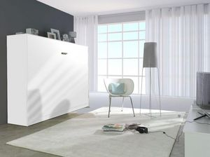 WHITE LABEL - armoire lit linea transversale façade blanc mat, c - Fold Away Bed