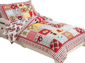 KidKraft - parure de lit 4 pièces pompier en polyester et mic - Children's Bed Linen Set