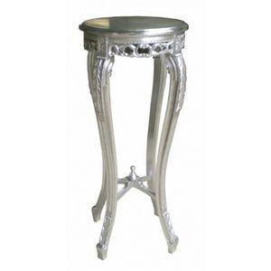 DECO PRIVE - sellette ronde en bois argenté - Pedestal Table