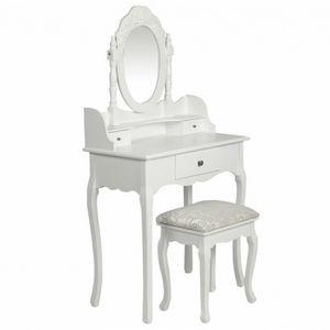 WHITE LABEL - coiffeuse avec tabouret et miroir - Dressing Table