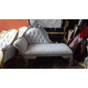DECO PRIVE - petite meridienne blanche et bois argenté modèle f - Lounge Sofa