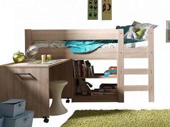 WHITE LABEL - lit mi haut compact aline design chêne - Mezzanine Bed Child