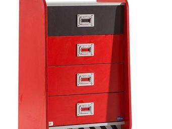 WHITE LABEL - commode à 4 tiroirs coloris rouge disney cars - Children's Drawer Chest