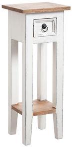 Aubry-Gaspard - petite table carrée en bois blanc - Pedestal Table
