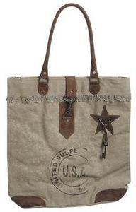 Aubry-Gaspard - sac vintage en coton recyclé et cuir modèle 4 - Shopping Bag