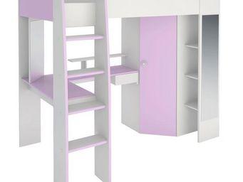 WHITE LABEL - lit surélevé 90*200 blanc/lilas - lady - l 205 x l - Mezzanine Bed Child