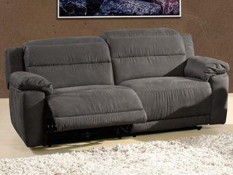 WHITE LABEL - canapé relax électrique 3 places microfibre - nanc - 2 Seater Sofa