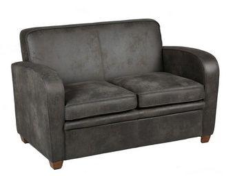 WHITE LABEL - canapé club 2 places gris - king - l 129 x l 84 x - 2 Seater Sofa