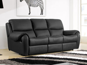 WHITE LABEL - canapé cuir 3 places inaya - 3 Seater Sofa