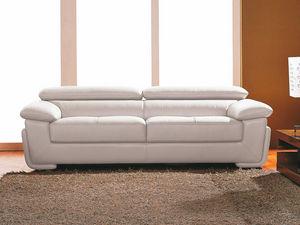 WHITE LABEL - canapé cuir 3 places sena - 3 Seater Sofa