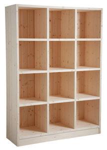 Aubry-Gaspard - bibliothèque 12 cases en épicéa brut - Open Bookcase