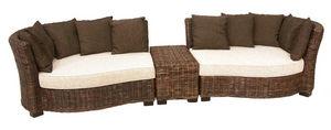 Aubry-Gaspard - salon en rotin et acajou canapé 3 pièces - Garden Furniture Set