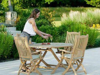 Alexander Rose - pliante bengal en roble  - Round Garden Table