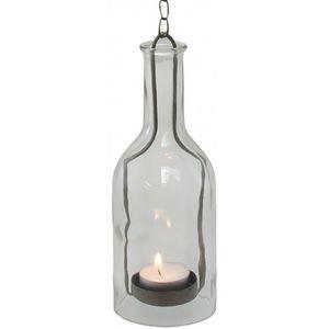 CHEMIN DE CAMPAGNE - lanterne bouteille à suspendre bougie en verre et  - Lantern