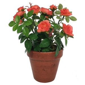 CHEMIN DE CAMPAGNE - grand rosier artificiel corail 23 cm - Artificial Flower