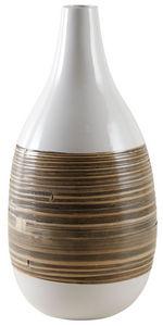 Aubry-Gaspard - vase bambou naturel et laqué blanc - Stem Vase