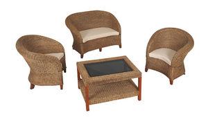 Aubry-Gaspard - salon de jardin 4 pièces en moelle de rotin et aca - Garden Furniture Set