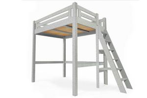 ABC MEUBLES - abc meubles - lit mezzanine alpage bois + échelle hauteur réglable gris aluminium 160x200 - Mezzanine Bed