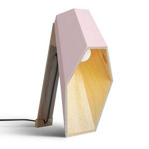 SELETTI - woodspot-lampe à poser led bois h44cm rose seletti - Table Lamp