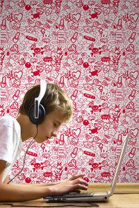 DECLIK - grafitti rouge - Single Strip Of Wallpaper