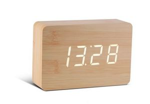 Gingko - brick beech click clock / white led - Alarm Clock