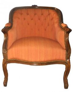 Demeure et Jardin - fauteuil bergère lin orange - Wingchair