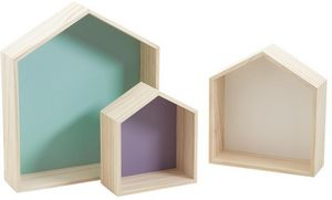 Aubry-Gaspard - niches murales maisonnettes colorées (lot de 3) - Multi Level Wall Shelf