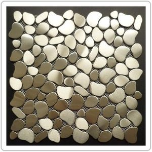 TOOSHOPPING - crédence carrelage inox mosaique inox galet round - Mosaic Tile Wall
