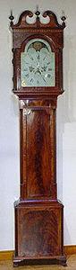 KIRTLAND H. CRUMP - federal mahogany inlaid tall case clock by solomon - Free Standing Clock