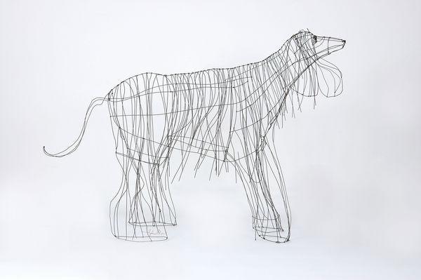 Marie Christophe - Animal sculpture-Marie Christophe-Lévrier afghan