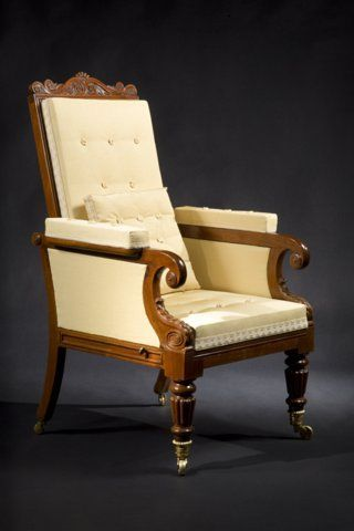 CARSWELL RUSH BERLIN - Armchair-CARSWELL RUSH BERLIN-IMPORTANT CARVED MAHOGANY MECHANICAL ARM CHAIR
