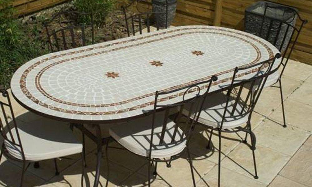 TABLE JARDIN MOSAIQUE Garten Esszimmer Gartentische Gartenmöbel  |